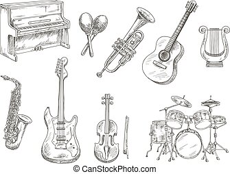 Sletched classic musical instruments set