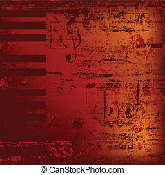 sleutels, abstract, jazz, achtergrond, piano, rood