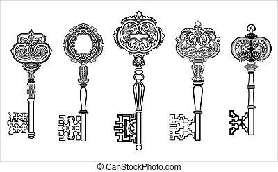 sleutels, antieke , verzameling, set, 1