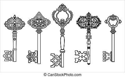 sleutels, antieke , verzameling, set, 2