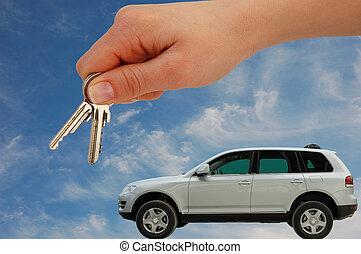 sleutels, auto, het overhandigen