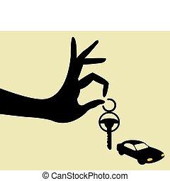 sleutels, auto, nemen