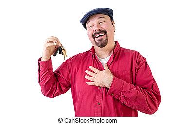 sleutels, auto, verrukt, middelbare , vasthouden, oud, man
