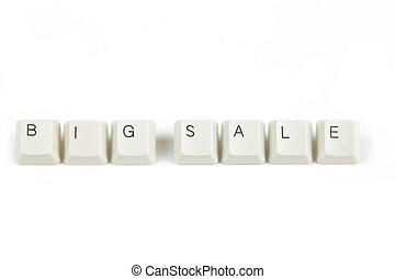 sleutels, groot, verspreid, verkoop, toetsenbord, witte