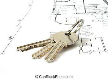 sleutels, op, een, architecture-plan