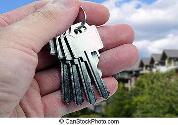 sleutels, op, handen