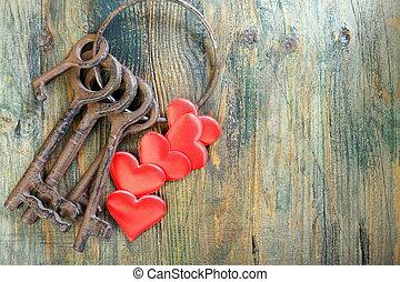 sleutels, oud, heart., rood