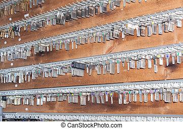 sleutels, paneel, slotenmaker