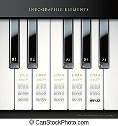 sleutels, piano, infographic, communie, 3d