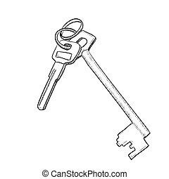 sleutels, schets, vector