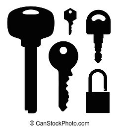 sleutels, slot, set, illustratie, liggen