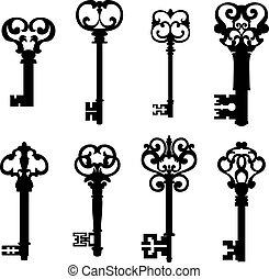 sleutels, stijl, set, oud, retro