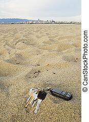 sleutels, strand, verloren
