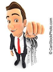 sleutels, zakenman, vasthouden, 3d