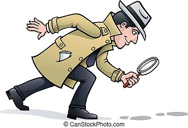 Sleuth Looking for Clues - Cartoon illustration of a retro...