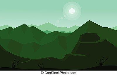 slhouette, montagna, verde, sole
