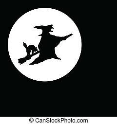 slicc, boszorkány, hold, fekete, illustratio