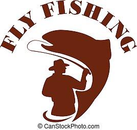 slicc, pisztráng, halászat, elszigetelt, retro