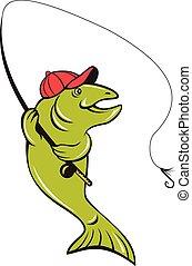 slicc, rúd, begörbít, halászat, karikatúra, pisztráng