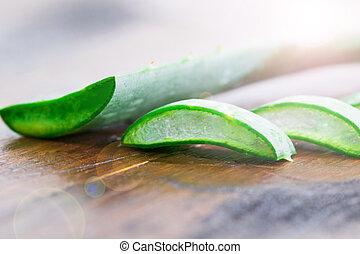 Slice Aloe Vera a very useful herbal medicine for skin care and hair care.