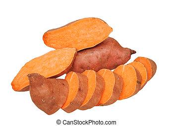 slice and whole sweet potatoes