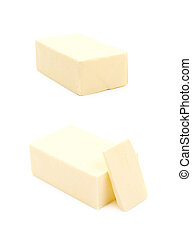 Slice block of butter isolated