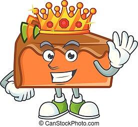 Slice cake character king on white background