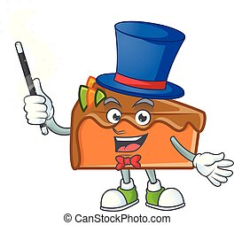 Slice cake character magician on white background