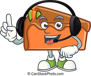 Slice cake character with headphone on white background