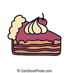 slice cake with cherry cream on white background