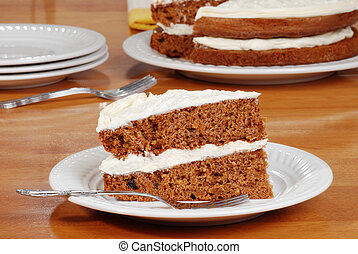 slice carrot cake on a plate
