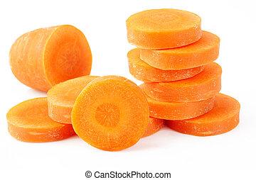 slice carrot on white background