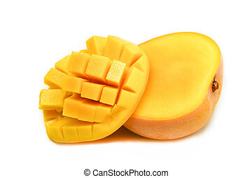 Slice mango isolated on white background - tropical fruit summer