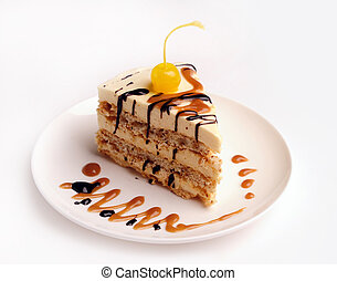 Slice of a cake. - Slice of a sweet cake on a plate with ...