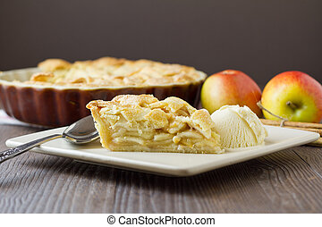 Slice of apple pie and ice cream, wide and horizontal