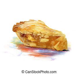 Slice Of Apple pie watercolor - Digital Painting of Slice Of...