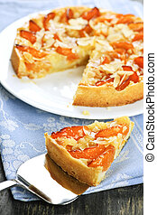 Slice of apricot and almond pie - Slice of fresh baked...