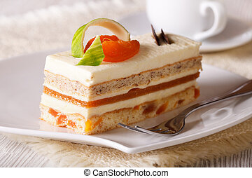 Slice of apricot cake on a plate