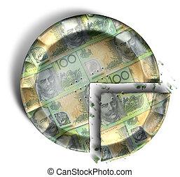 Slice Of Australian Dollar Money Pie - A top view concept of...