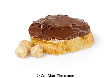 slice of baguette with chocolate cream