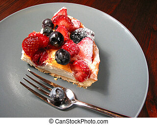 Slice of berry cake on a plate