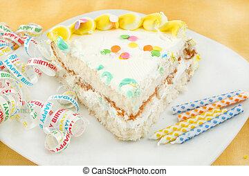 slice of birthday cake - slice of frosted festive birthday...