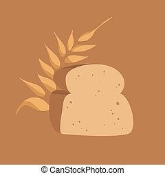 Slice of Bread and Spike of Wheat