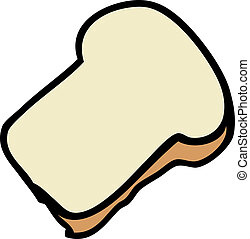 Slice of bread - Cartoon food illustration of a slice of...