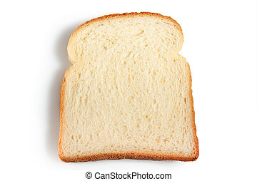 Slice of bread on a white background