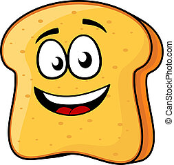 Vector cartoon illustration of a happy slice of bread or toast with a beaming smile isolated on white