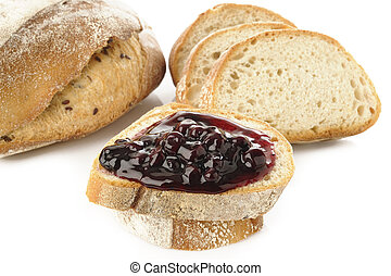 bread with blueberry topping
