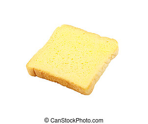 Slice of bread with butter isolated