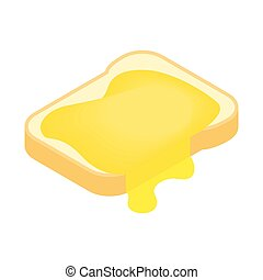 Slice of bread with honey isometric 3d icon