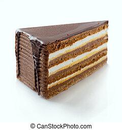 Slice of cake - Slice of chocolate cake on white, selective...